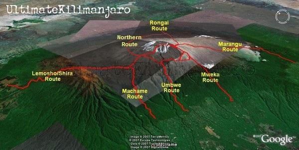 Kilimanjaro Route Map1